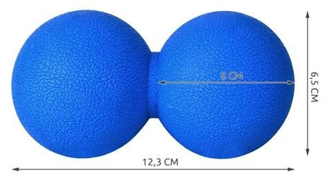 Massage double ball 12,3x6,5cm blue hard rubber trigger point fascia massage 5418